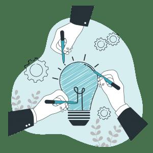grafika: három kéz együtt rajzol egy villanykörtét